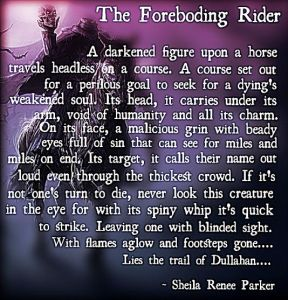 "(""The Foreboding Rider"". ~ A poem by Sheila Renee Parker.)"